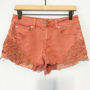 American Eagle hi-rise festival lace detail shorts